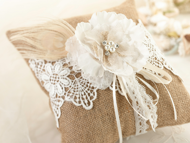 Rustic Style Wedding Ring Pillow